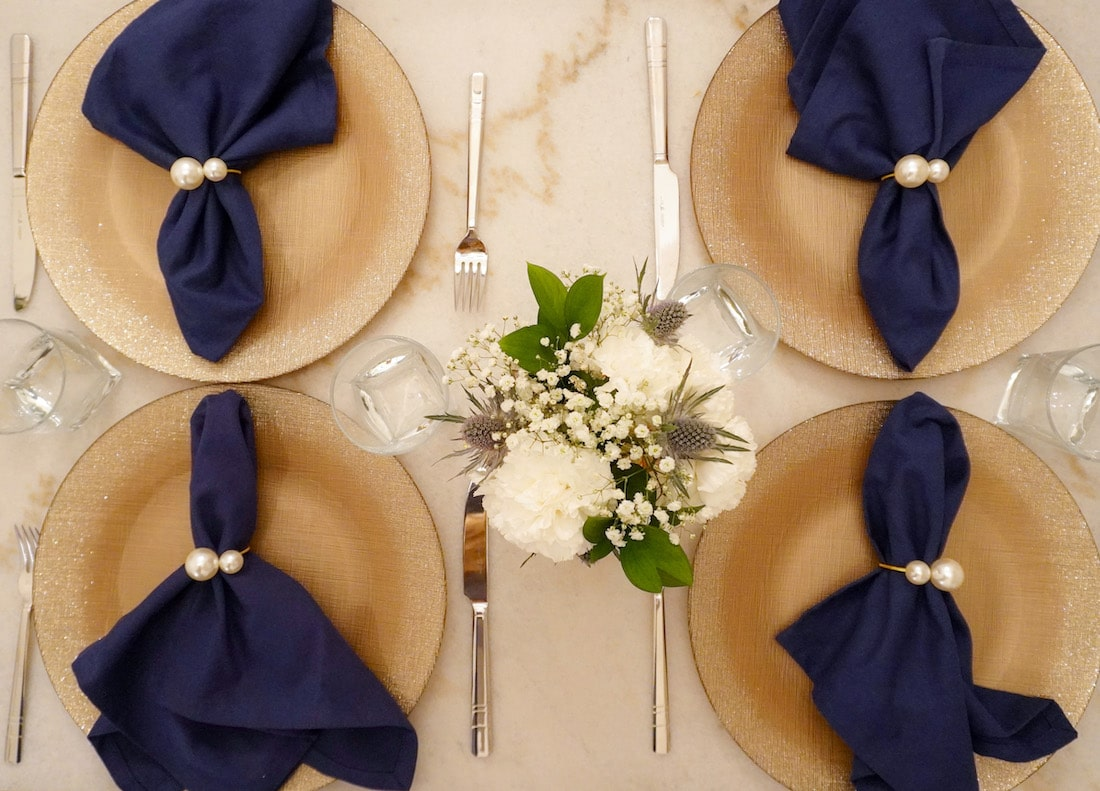 Winter Tablescape Idea Gold and Navy