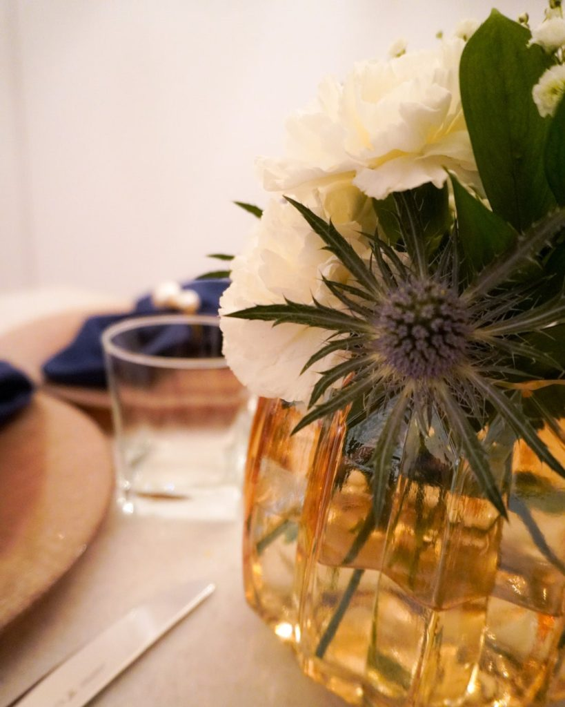Winter table centerpiece with thistle