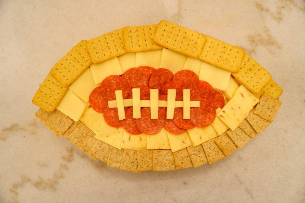 Super Bowl football charcuterie board