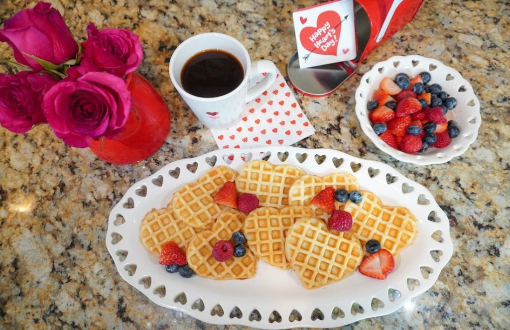 Valentine's Day tablescape-brunch with heart-shaped waffles