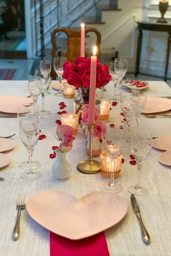 Valentines Day pink tablescape