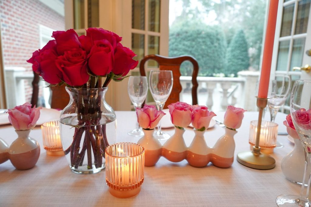Valentines Day pink roses centerpiece