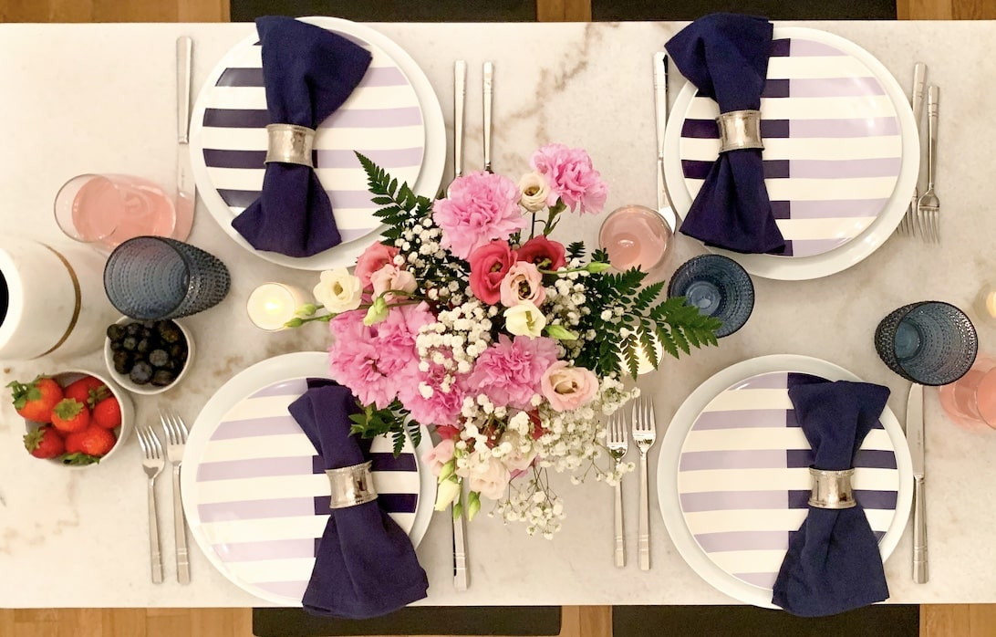 Overhead shot of spring tablescape