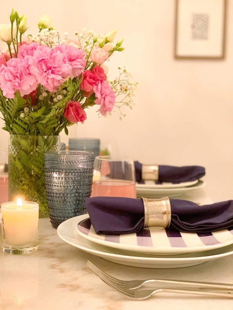 Spring tablescape side view