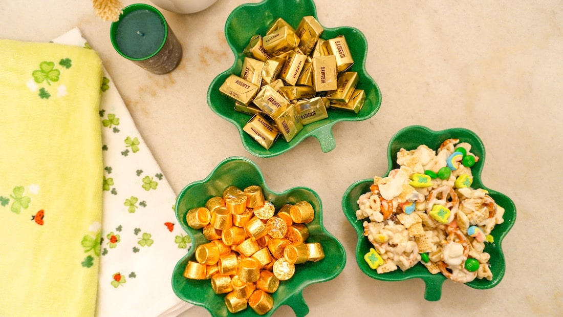 St. Patrick's Day treats in shamrock bowls