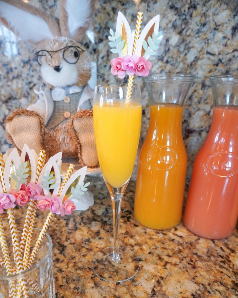 Bunny straws for mimosa bar