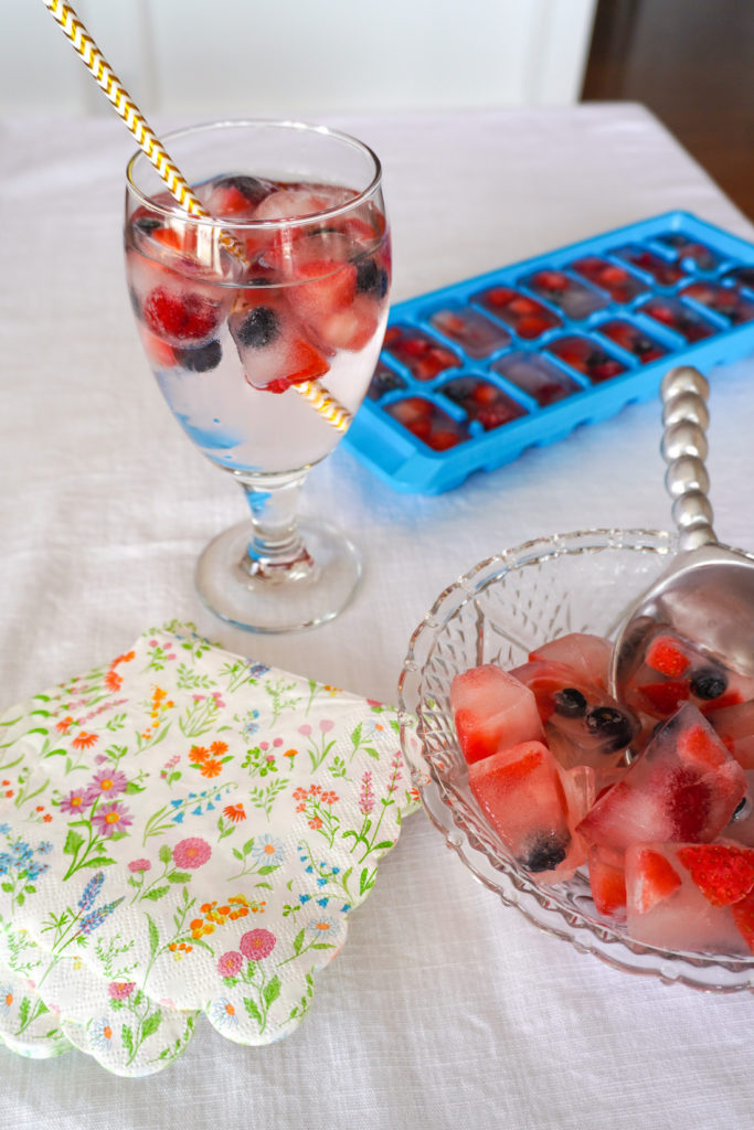 Fruit Ice Cubes for party with strawberries, blueberries and raspberriees