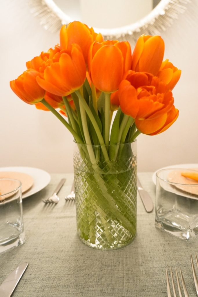 Easter tablescape with tulips