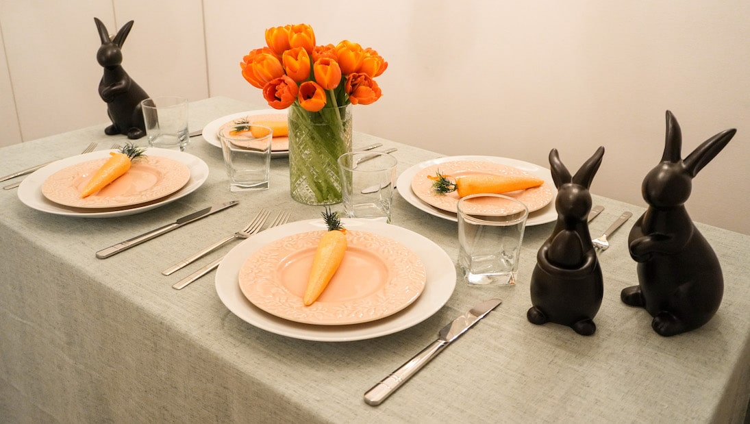 Easter Table Setting- Orange and Green